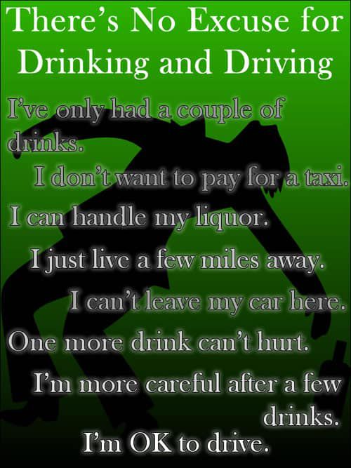 Drinking and Driving Excuses Infographic